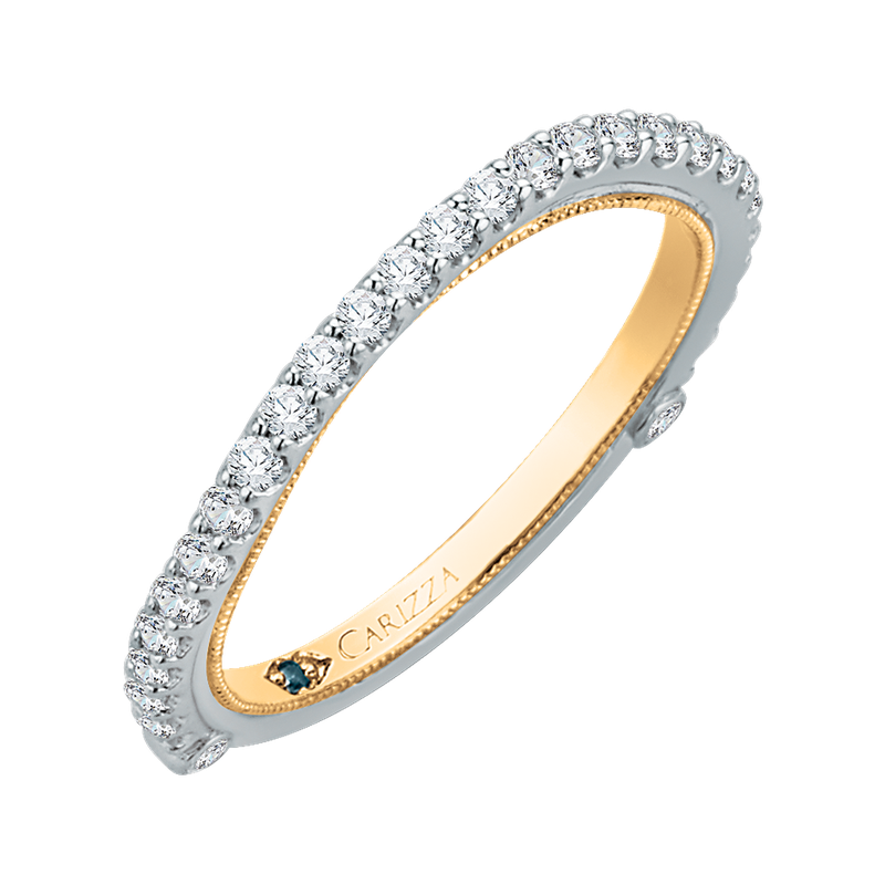 Carizza 14K Two-Tone Gold Round Diamond Wedding Band