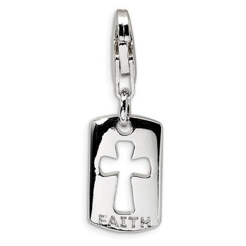 Sterling Silver CZ Cut-out Cross/Faith Clip-on w/Lobster Clasp Charm