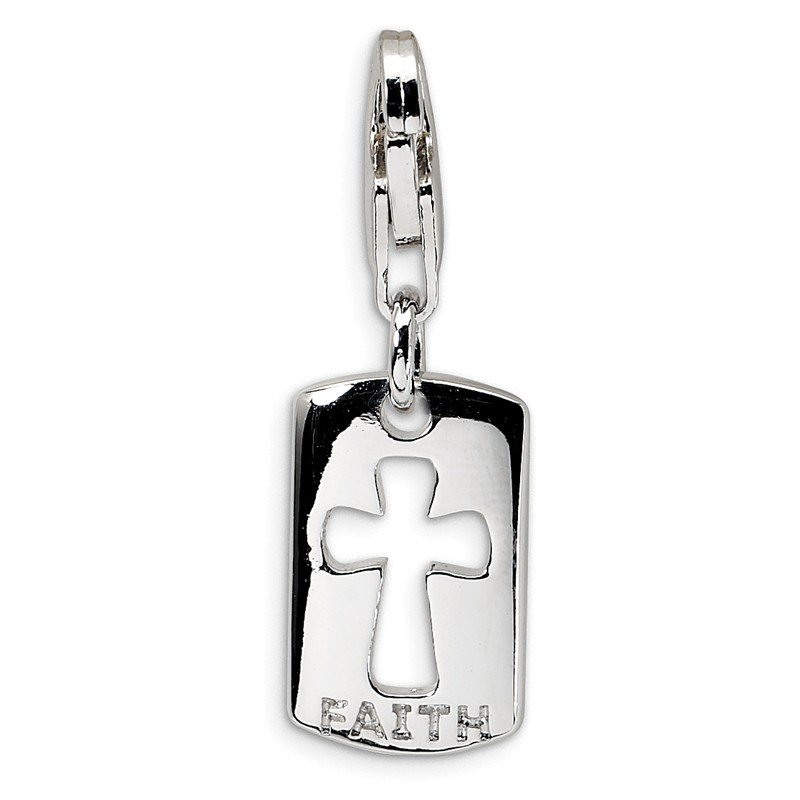 Quality Gold Sterling Silver CZ Cut-out Cross/Faith Clip-on w/Lobster Clasp Charm