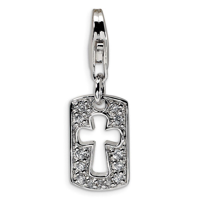 Quality Gold Sterling Silver Amore La Vita Rhodium-pl CZ Cut-out Cross Faith Charm