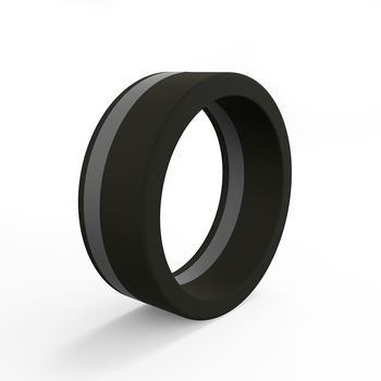 Men's Pinstripe Forever Black & Silver Silicone Ring