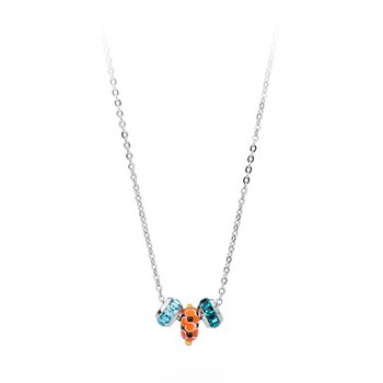 316L stainless steel, coloured glass and coloured Swarovski® Elements crystals.