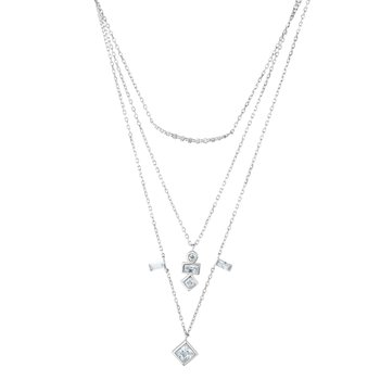 Silver Multi Layer CZ Necklace
