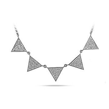 "10K WG Diamond 5 Elements ""Fire, Water, Earth, Air and Space"" Triangle ""Mind, Body, Soul"" Necklace in Pave Setting"
