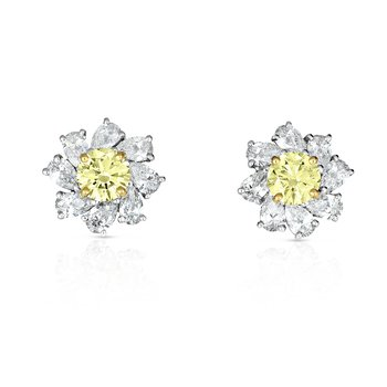 18kt Gold & Platinum Fancy Intense Yellow Diamond Earrings