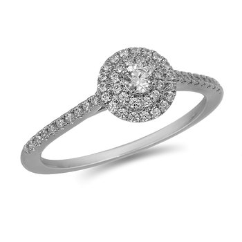 14K WG and diamond petite engagement ring  in prong and split prong setting