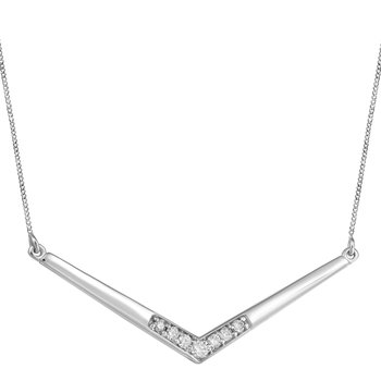 10KW V Shape Necklace with Diamond Accents