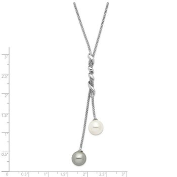 Sterling S Majestik Rh-pl 10-11mm Wht and Grey Imitat Shell Pearl Necklace