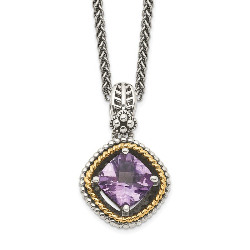 Quality Gold Sterling Silver w/14k Amethyst Necklace