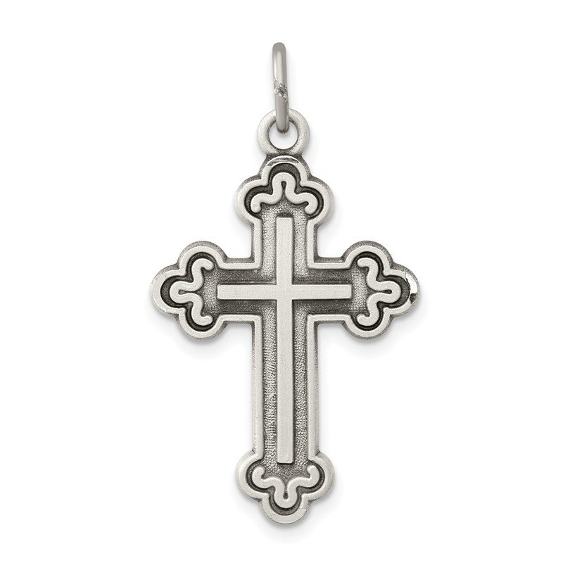 Quality Gold Sterling Silver Antiqued Budded Cross Pendant