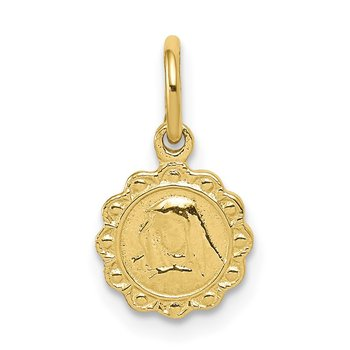 10k Solid Satin Polished Our Lady of Sorrows Disc Pendant