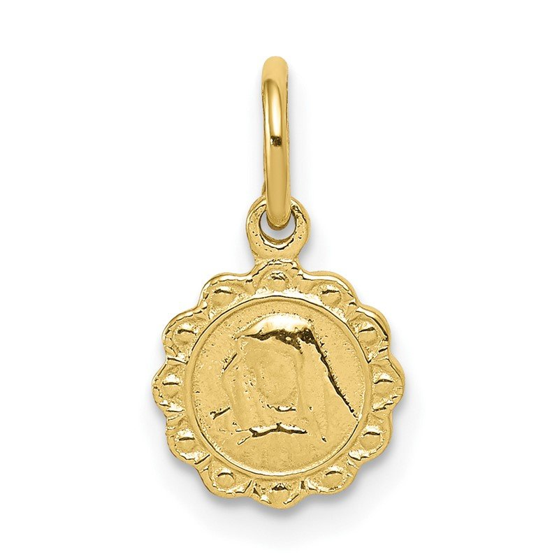 Quality Gold 10k Solid Satin Polished Our Lady of Sorrows Disc Pendant