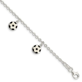 Sterling Silver Enameled Soccer Ball 5 IN W/ 1In Ext Bracelet