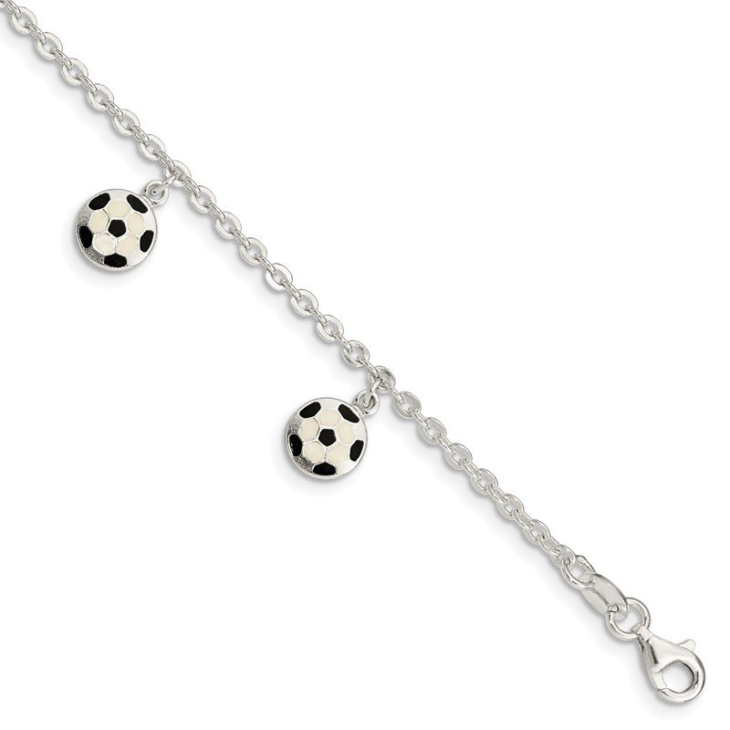 Quality Gold Sterling Silver Enameled Soccer Ball 5 IN W/ 1In Ext Bracelet