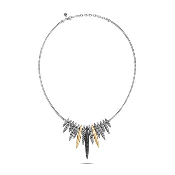Classic Chain Spear Bib Necklace, Silver, 18K Gold, Gem