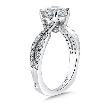 Criss Cross Engagement Ring with Side Stones in 14K White Gold (1-1/2ct. tw.)