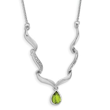 Sterling Silver Rhodium-plated w/Peridot & White Topaz w/2in. ext. Necklace