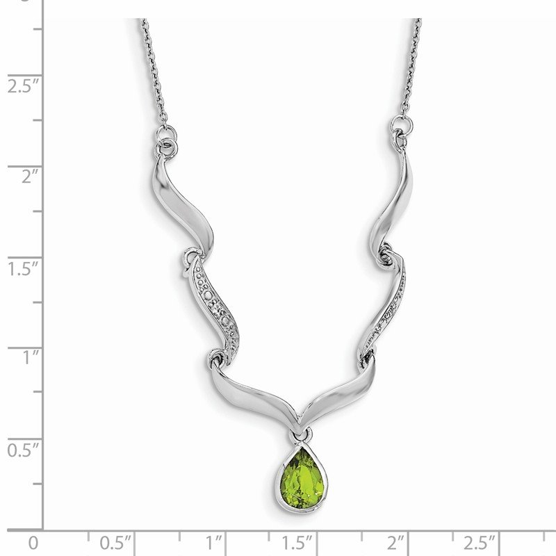 Quality Gold Sterling Silver Rhodium-plated w/Peridot & White Topaz w/2in. ext. Necklace