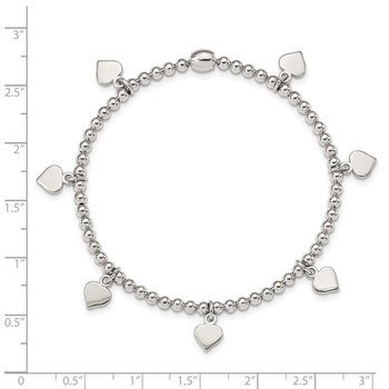 Sterling Silver 7-Heart Dangles Stretch Bracelet