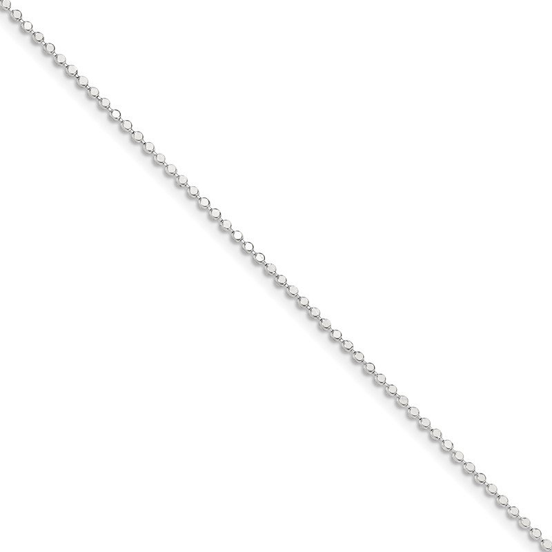 Quality Gold Sterling Silver 1.15mm Square Fancy Beaded Chain Anklet