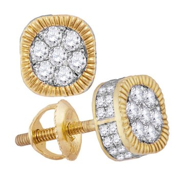 10kt Yellow Gold Mens Round Diamond Fluted Flower Cluster Earrings 1.00 Cttw