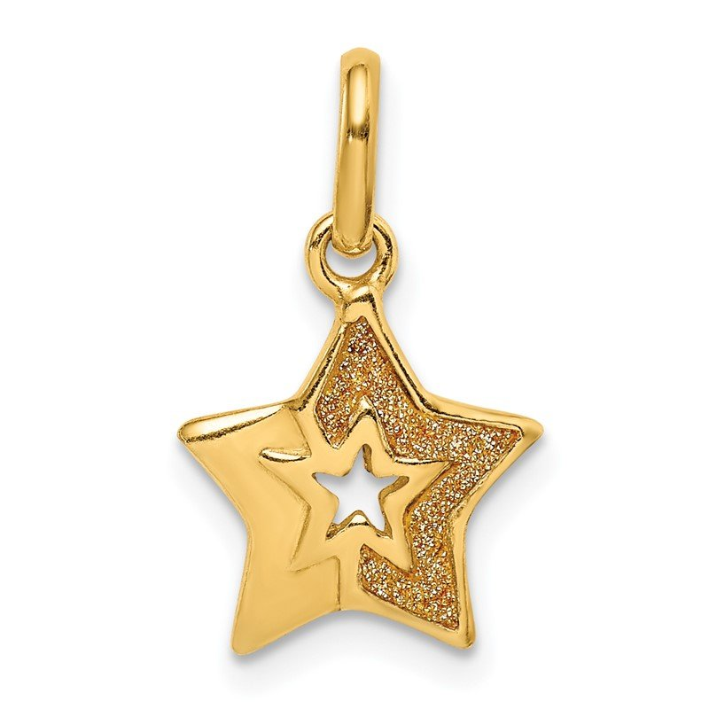 Quality Gold Sterling Silver Gold Tone Glitter Infused Star Pendant