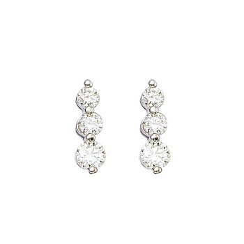 14k White Gold 1 ct 3 Stone Diamond Earring