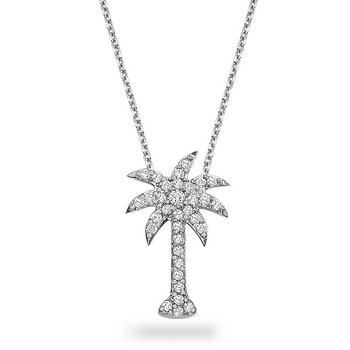 Diamond Large Palm Tree Necklace in 14k White Gold with 33 Diamonds weighing .38ct tw.