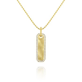 14k Gold and Diamond Dog Tag Necklace
