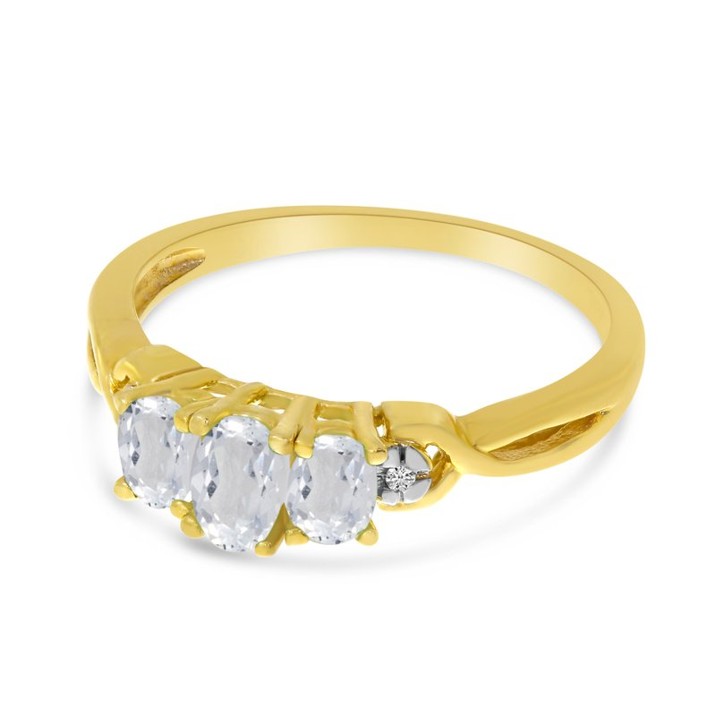 Color Merchants 10k Yellow Gold Oval White Topaz And Diamond Three Stone Ring