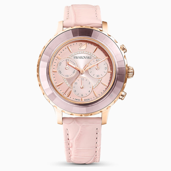 Octea Lux Chrono Watch, Leather Strap, Pink, Rose-gold tone PVD