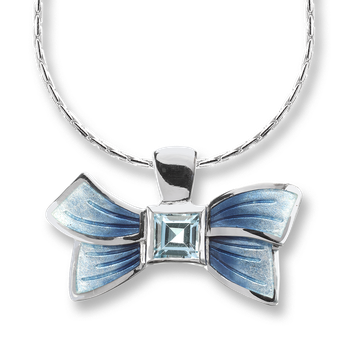 Sterling Silver Bow Necklace-Blue, Blue Topaz