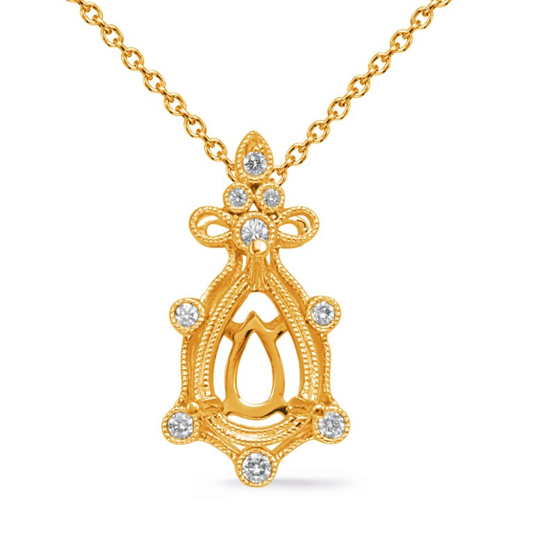 S. Kashi  & Sons Yellow Gold Diamond Pendant 8x5 Pearshap