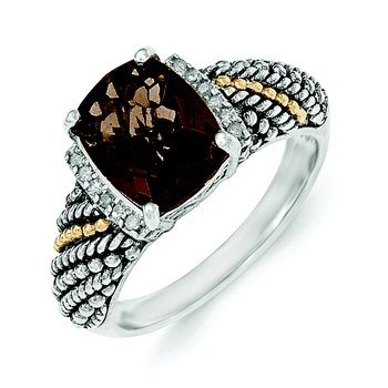 Sterling Silver w/14k Diamond and Smoky Quartz Ring