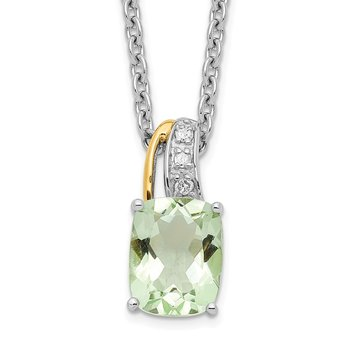 SS and 14k Accent Green Quartz and Diamond 18inch Necklace