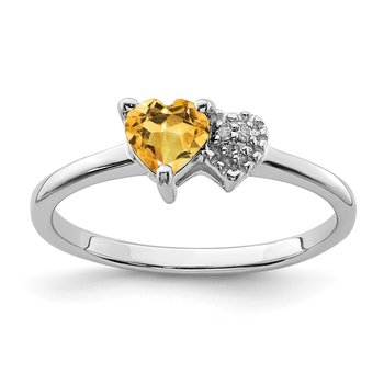 Sterling Silver Polished Citrine and Diamond Ring