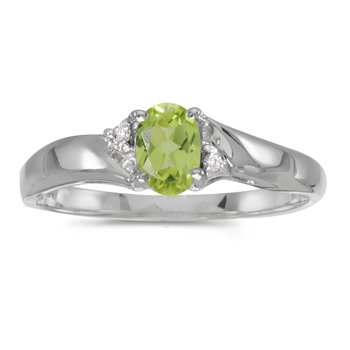Sterling Silver Oval Peridot And Diamond Ring