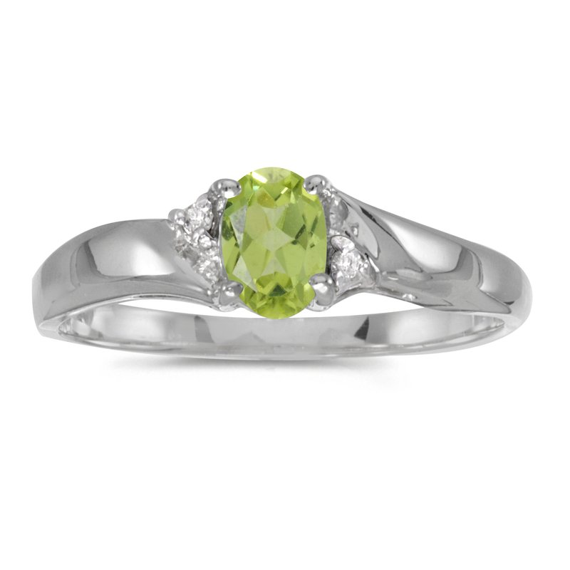 Color Merchants Sterling Silver Oval Peridot And Diamond Ring