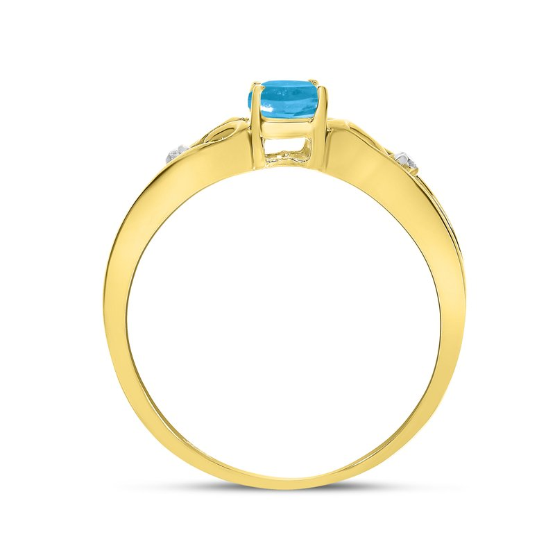 Color Merchants 14k Yellow Gold Oval Blue Topaz And Diamond Ring