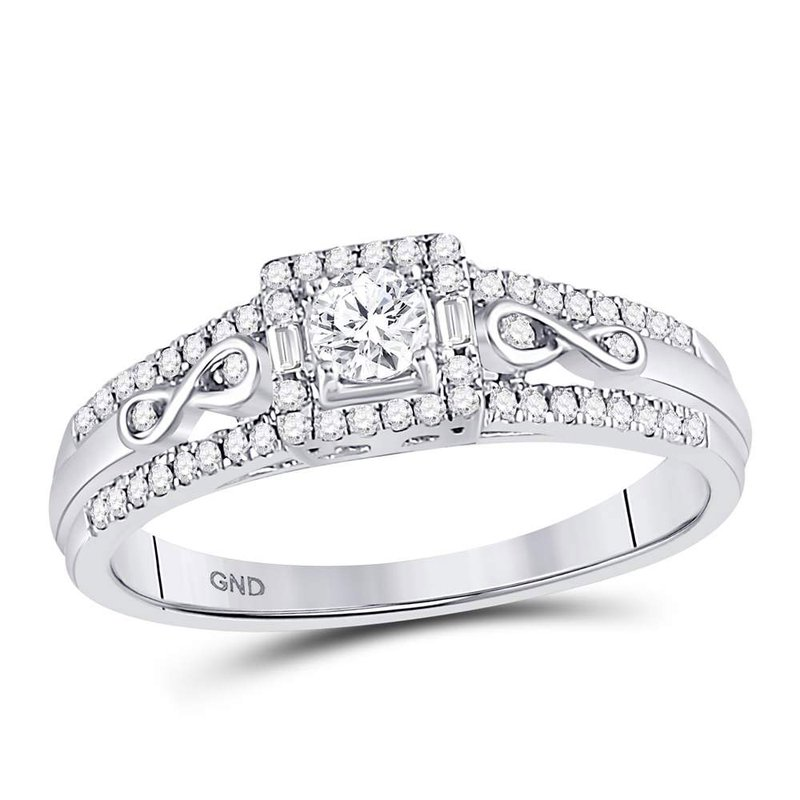 Gold-N-Diamonds, Inc. (Atlanta) 14kt White Gold Womens Round Diamond Solitaire Bridal Wedding Engagement Ring 1/3 Cttw