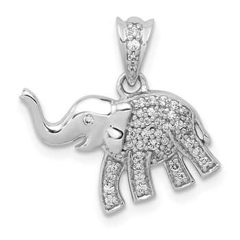 14k White Gold Diamond Elephant Pendant