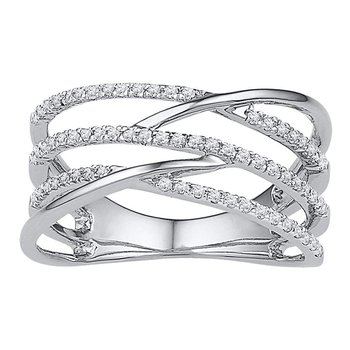10kt White Gold Womens Round Diamond Triple Row Openwork Crossover Band Ring 1/3 Cttw
