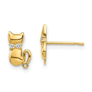 14K Sitting Cat CZ Bowtie Stud Earrings