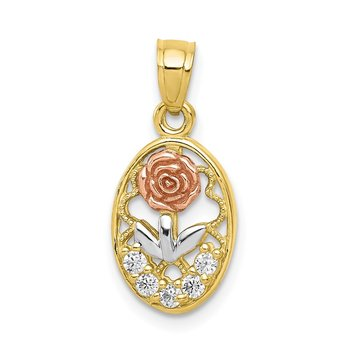 10K Two-Tone w/White Rhodium CZ Rose Charm