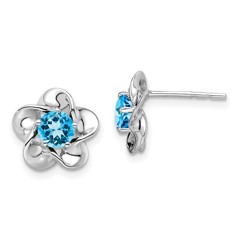 Quality Gold Sterling Silver Rhodium-plated Floral Blue Topaz Post Earrings