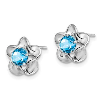 Sterling Silver Rhodium-plated Floral Blue Topaz Post Earrings
