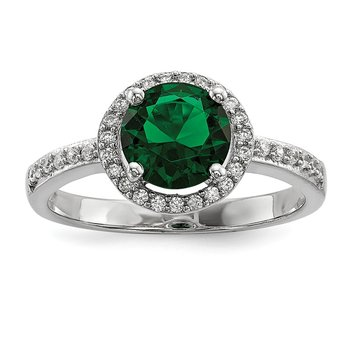 Sterling Silver White & Green CZ Brilliant Embers Rhodium Ring