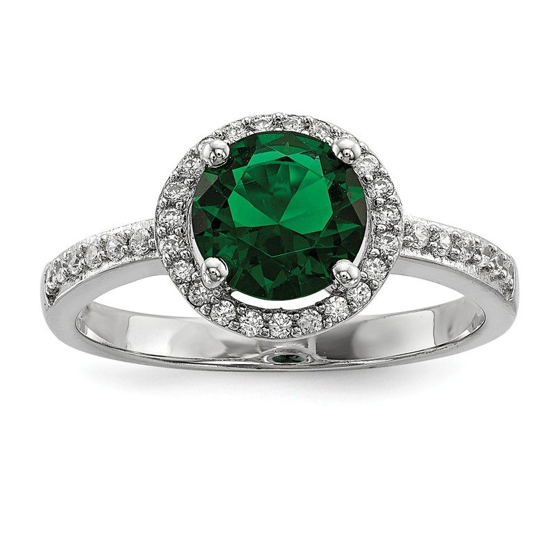Arizona Diamond Center Collection Sterling Silver White & Green CZ Brilliant Embers Rhodium Ring