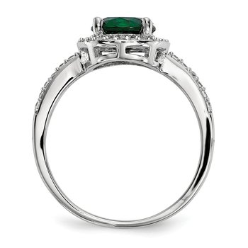 SS Rhodium-Plated White & Green CZ Brilliant Embers Ring