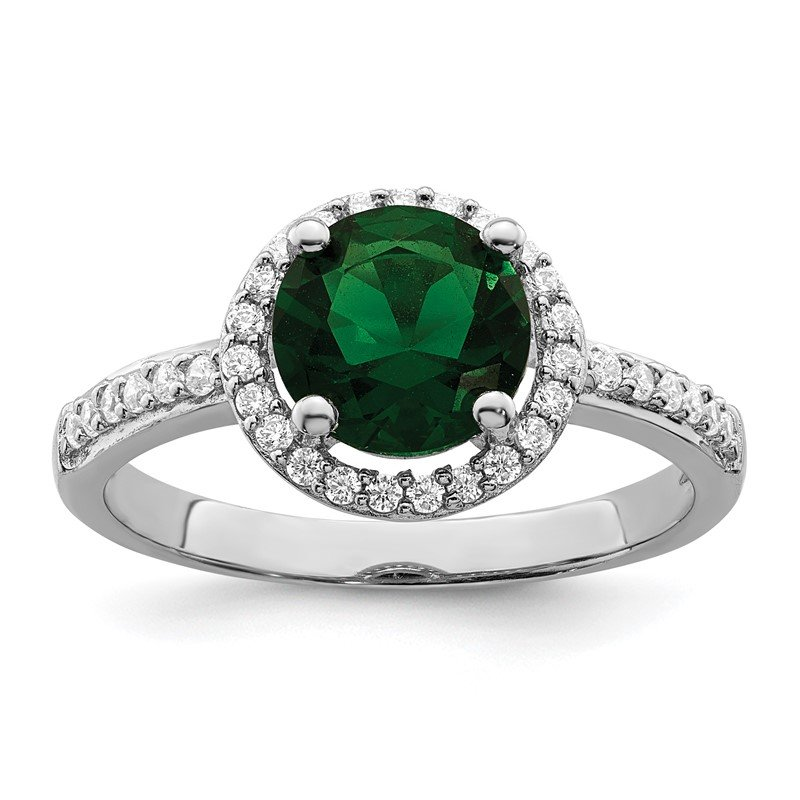 Quality Gold SS Rhodium-Plated White & Green CZ Brilliant Embers Ring